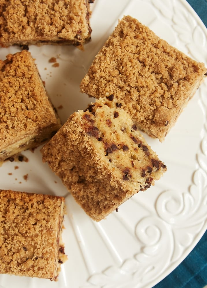 Chocolate Chip Crumb Cake is simply delicious. Lots of chocolate chips make this one a big hit! - Bake or Break