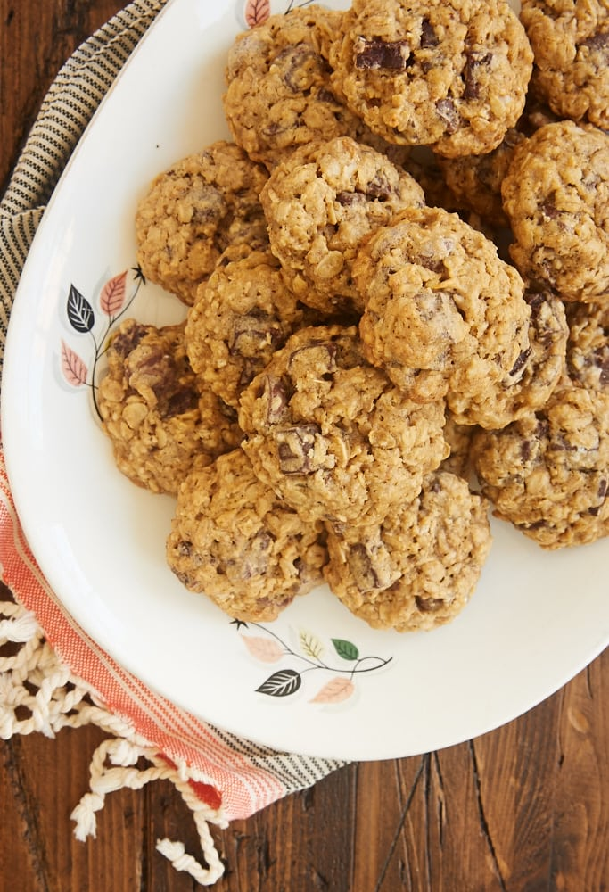 Brown Sugar Oatmeal Chocolate Chip Cookies are one of my favorite cookies. Two kinds of chocolate, all that sweet brown sugar, and those chewy oats make these perfectly soft, chewy, and delicious! - Bake or Break