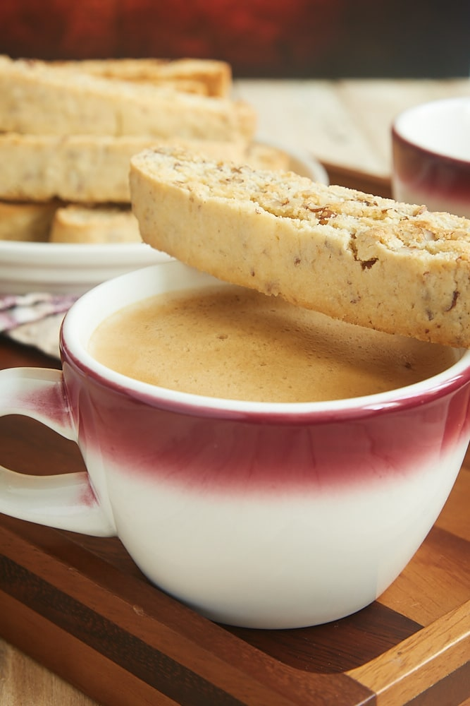 Add a little sweetness to your coffee or tea break with these delicious Bourbon Pecan Biscotti! - Bake or Break
