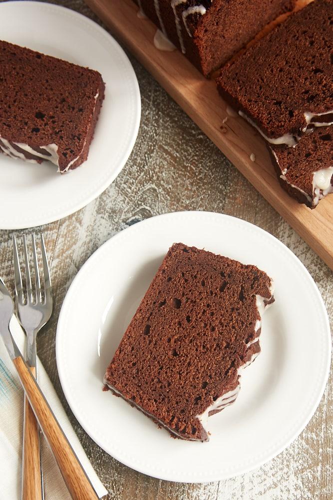 Chocolate sour cream pound cake topped with vanilla glaze