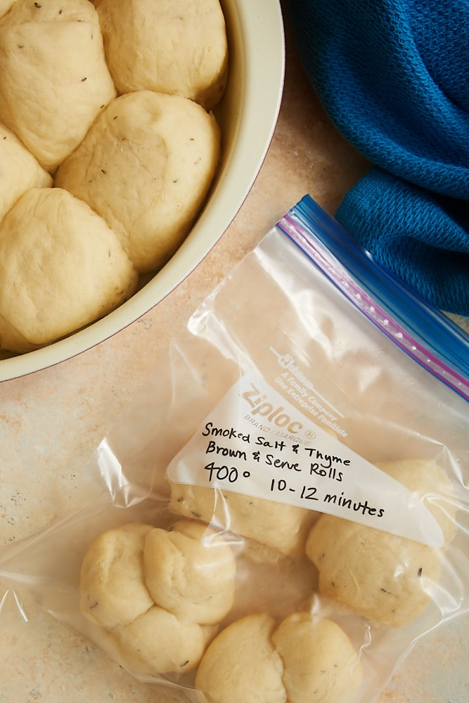 Smoked Salt and Thyme Brown and Serve Rolls ready to refrigerate or freeze