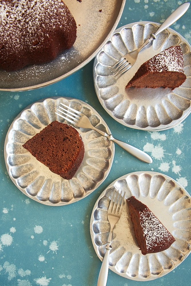 slices of Buttermilk Mexican Chocolate Pound Cake