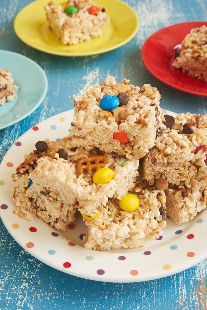 plate of Kitchen Sink Crispy Treats - Rice Crispy Treats recipe on Bake or Break