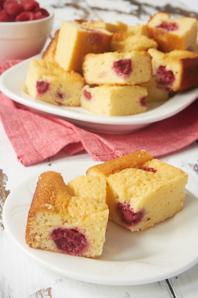 Raspberry White Chocolate Brownies served on a plate